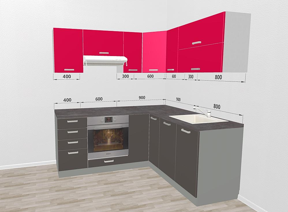 3D navrh rohovej kuchyne Gray-Rose
