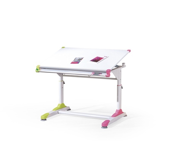 biela + ružová + zelená - Rastúci písací stôl Collorido