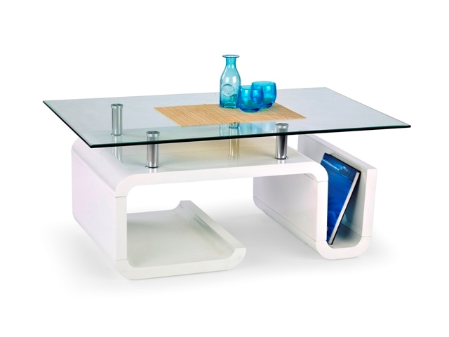 chróm + číre sklo + biely lak - Konferenčný stolík Esperanza