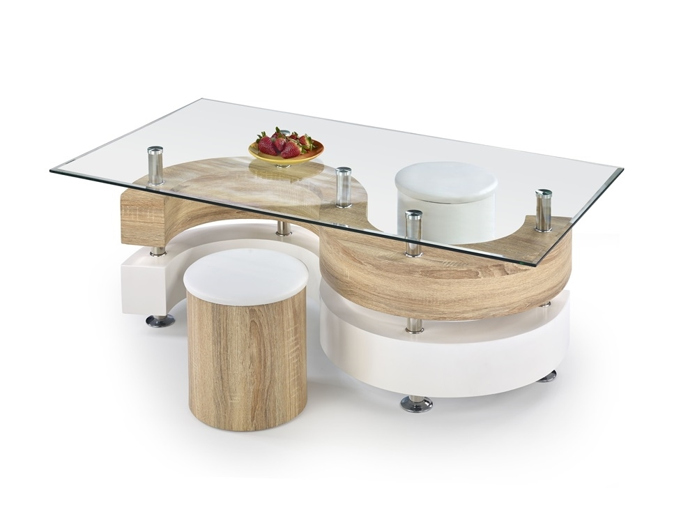 číre sklo + dub sonoma + biela - Konferenčný stolík NINA 4
