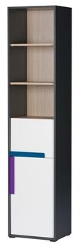 biela / grafit / borovica avola / úchytky tyrkysová + fialová
