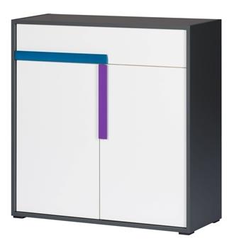 biela / grafit / úchytky tyrkysová + fialová