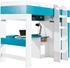 biela / tyrkysová - MOBI posteľ s písacím stolíkom MO20