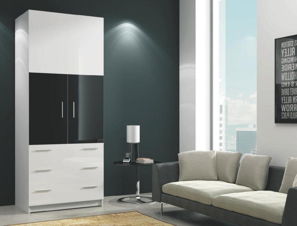 biela + čierny lesk - Skriňa ROMA