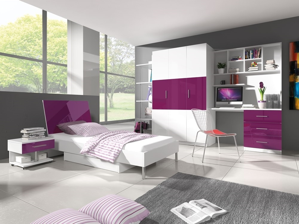biela + fialový lesk - RAJ 3 - detská izba