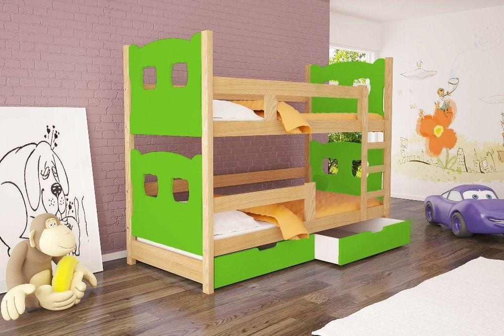 borovica + zelená - Poschodová posteľ Oli 2 - typ A