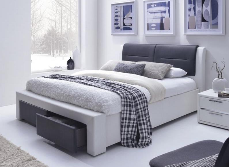 bielo-čierna ekokoža - Manželská posteľ Cassandra-S 140/160