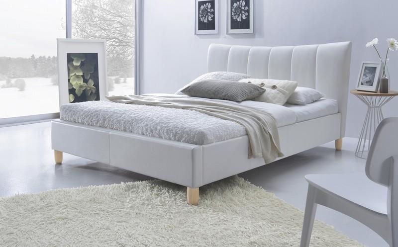 biela ekokoža - Manželská posteľ Sandy 160