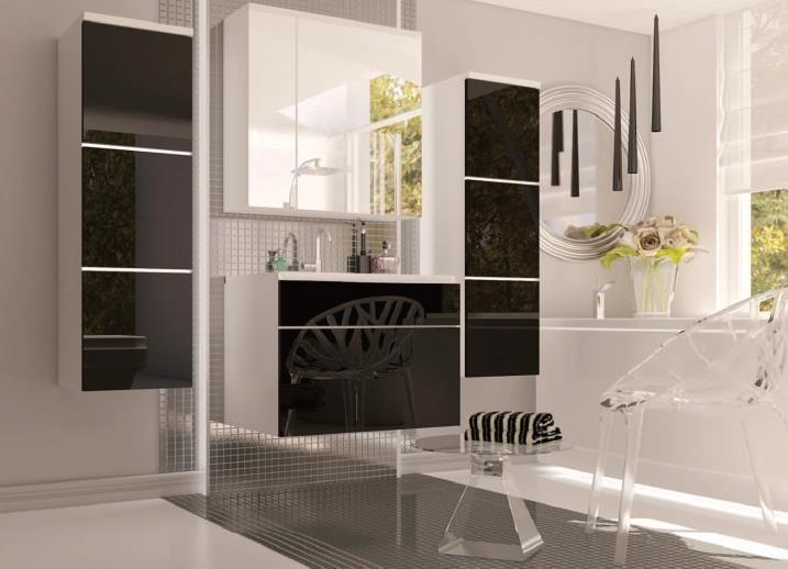 Biela matná a čierny lesk - Kúpelňová zostava Porto BL 01