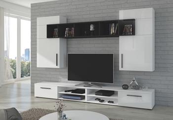 biely mat / biely lesk + čierny mat - Obývacia stena Bella WHG01