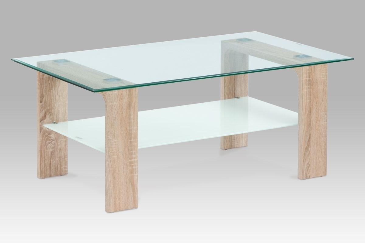číre sklo + mliečne sklo + dub sonoma - Konferenčný stolík AF-2037 SON