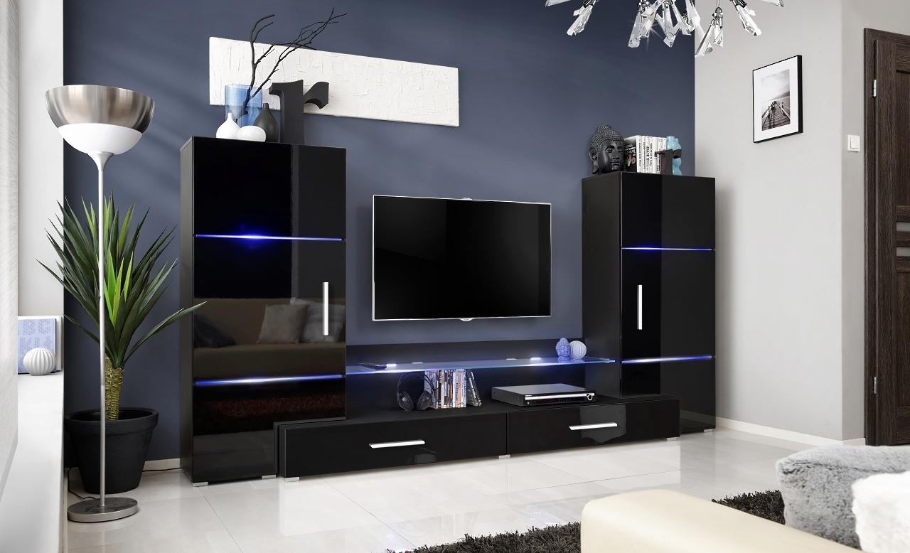 RTV skrinka s nadstavbou čierny mat + čierny lesk / skrinky čierny mat + čierny lesk (24 ZZ TW) - Obývacia stena Tower + LED