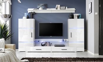 RTV skrinka s nadstavbou biely mat + biely lesk / skrinky biely mat + biely lesk (24 WW TW2) - Obývacia stena Tower II + LED
