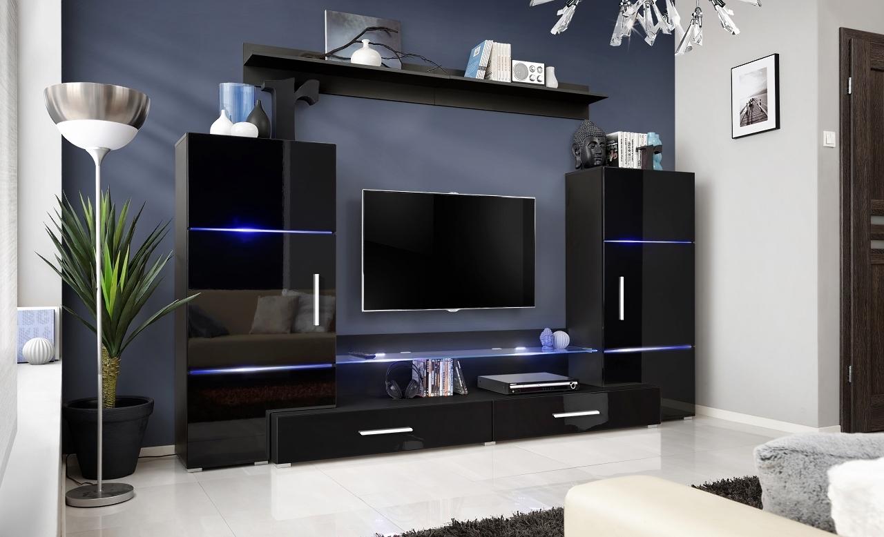 RTV skrinka s nadstavbou čierny mat + čierny lesk / skrinky čierny mat + čierny lesk (24 ZZ TW2) - Obývacia stena Tower II + LED