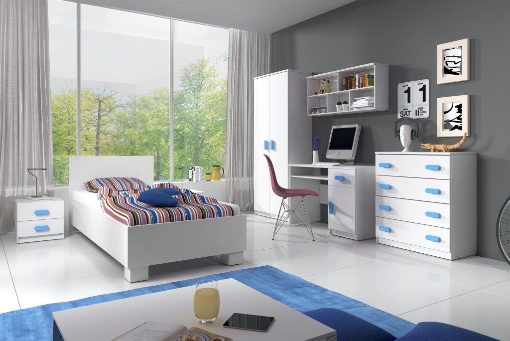 biela + modrá - Zostava do detskej izby SMYK  I + POSTEĽ