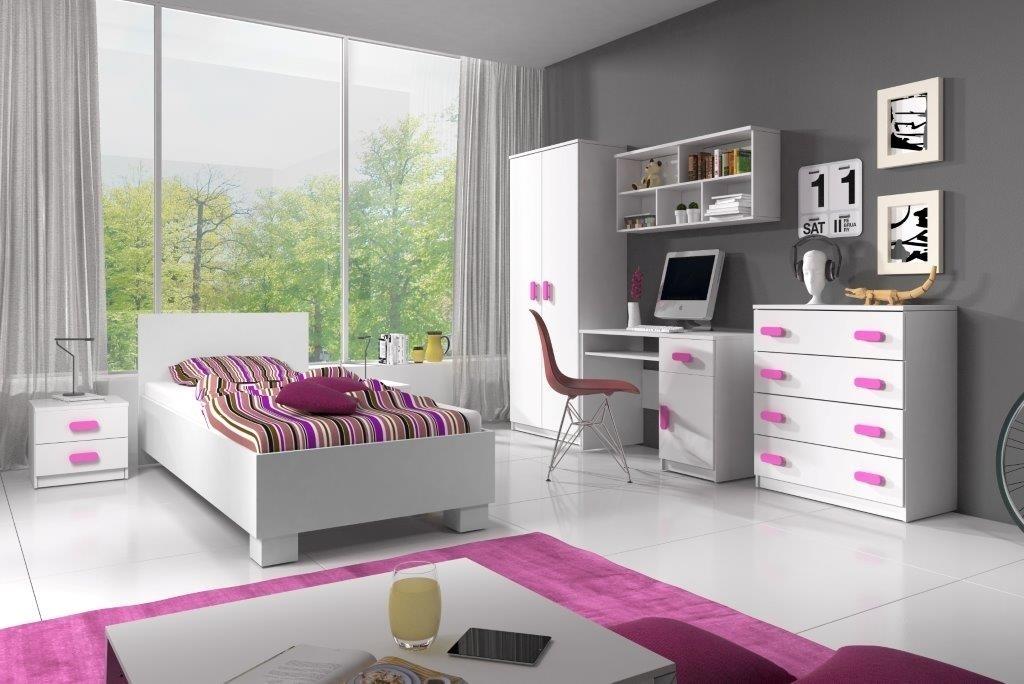 biela + ružová - Zostava do detskej izby SMYK  I + POSTEĽ