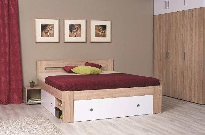 ilustrané foto - dub bardolino + biele čelá - Manželská posteľ REA LARISA 160/180