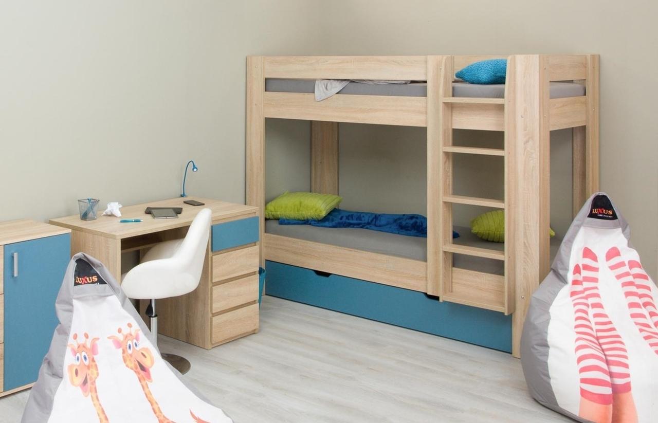 ilustračné foto - dub bardolino + pow blue - Poschodová posteľ REA PIKACHU