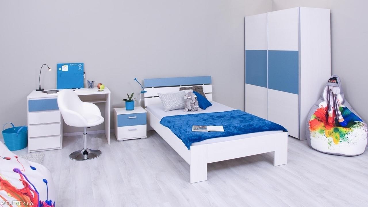 ilustračné foto 1 - biela + pow blue - Jednolôžková posteľ REA NASŤA