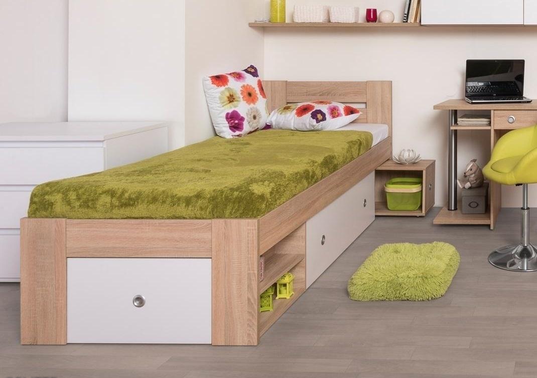ilustračné foto 2 - dub bardolino + biele čelá - Jednolôžková posteľ REA LARISA 90/120/140