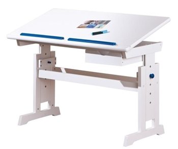 biela + modré alebo ružové doplnky - Rastúci písací stôl Baru