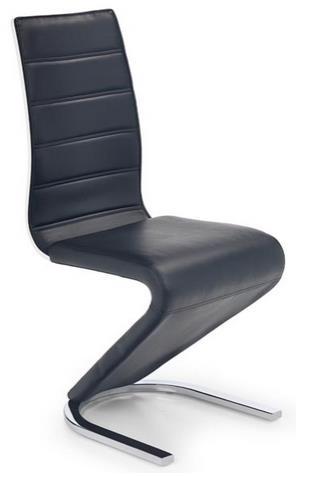 chróm + čierna ekokoža + biela preglejka - Stolička K194