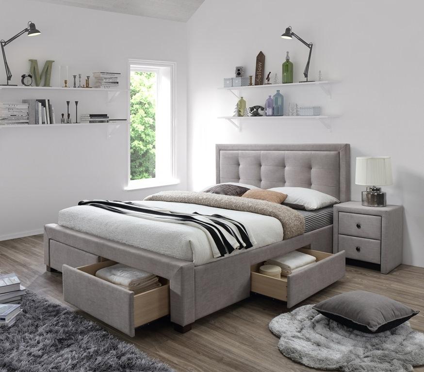 béžová látka - Manželská posteľ Evora 160