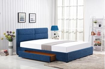 modrá látka + nohy čierne - Manželská posteľ Merida 160