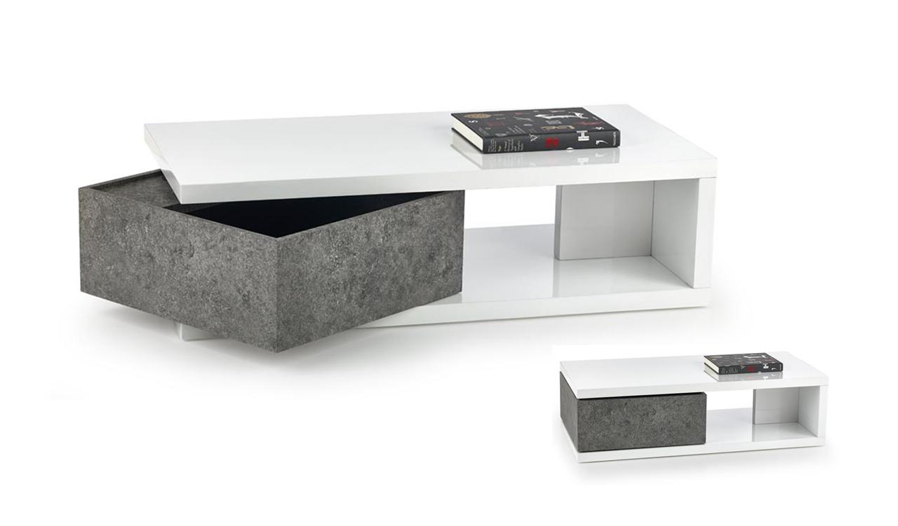 biely lesk + beton - Konferenčný stolík IMPALA