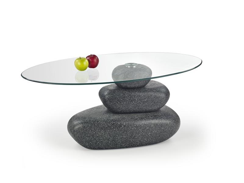 číre sklo + grafit - Konferenčný stolík FLAVIA