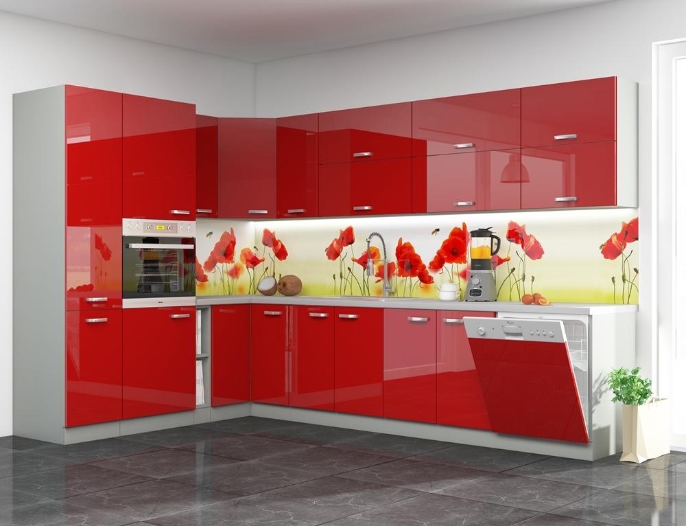 sivý mat + červený vysoký lesk - Sektorová kuchynská linka ROSE