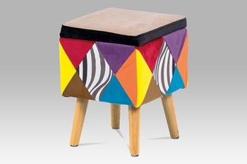 prírodný kaučukovník + látka patchwork