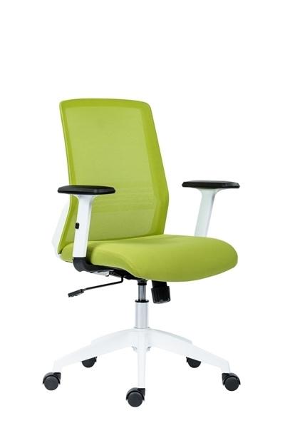 zelená látka + zelená sieťovina - Kancelárska stolička Novello White
