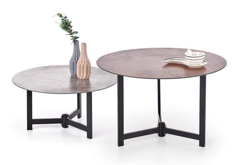 čierny kov + šedé sklo + hnedé sklo - Príručný / konferenčný stolík TWINS
