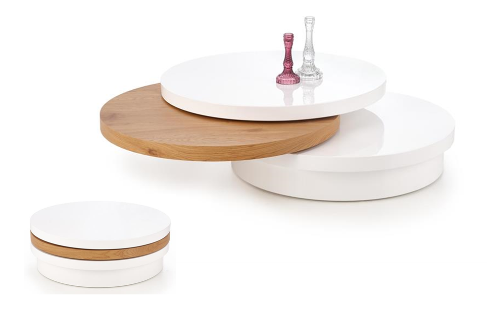 biela + dub zlatý - Konferenčný stolík MICHELLE