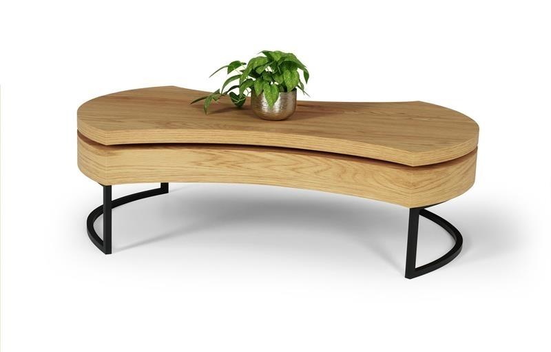 čierny kov + dub zlatý - Konferenčný stolík AUREA 3