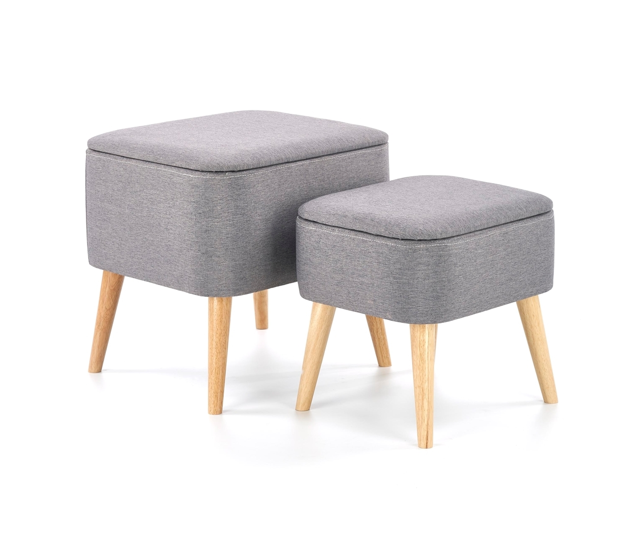sivá + prírodné drevo - Set 2 taburetiek PULA