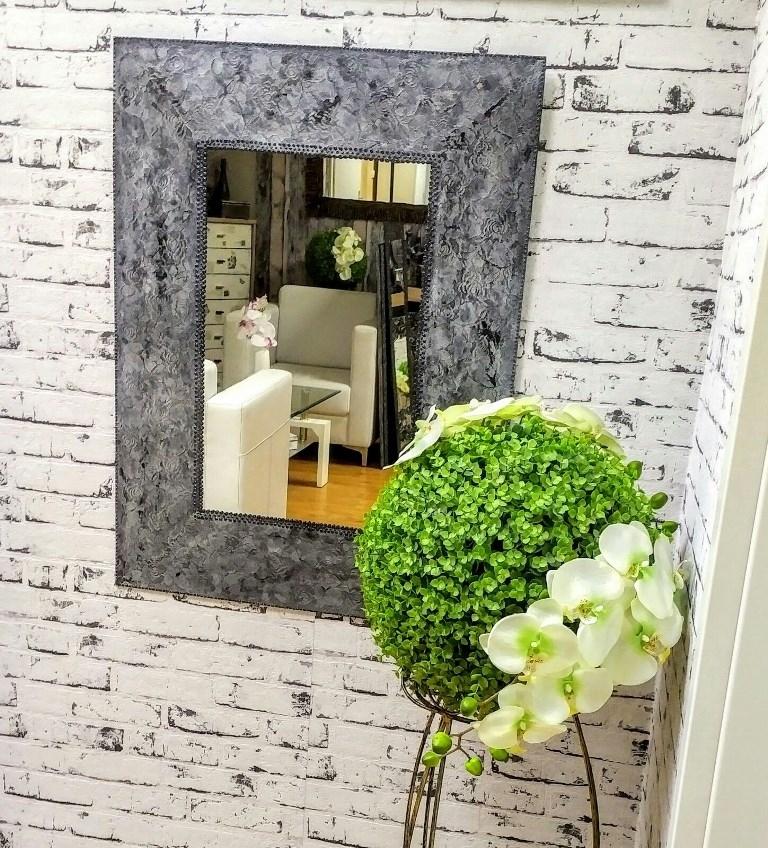 tvrdená čipka s diamantovým efektom - Luxusné zrkadlo Aurelia