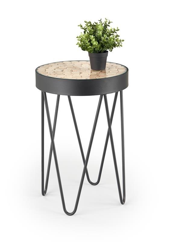 čierny kov + prírodná - Príručný stolík NATURO