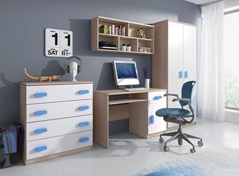 dub sonoma + biela + modrá