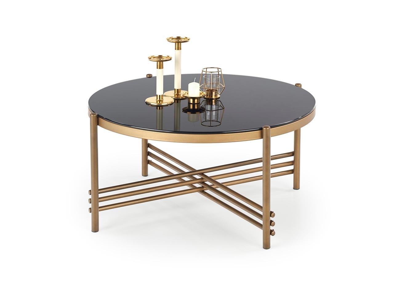 zlatá + čierne sklo - Konferenčný stolík ISMENA
