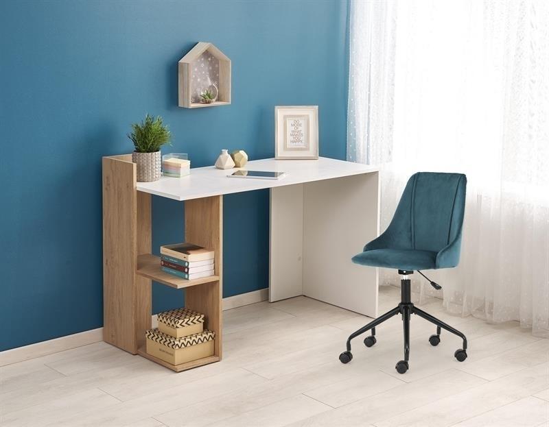 dub zlatý + biela - PC stolík FINO