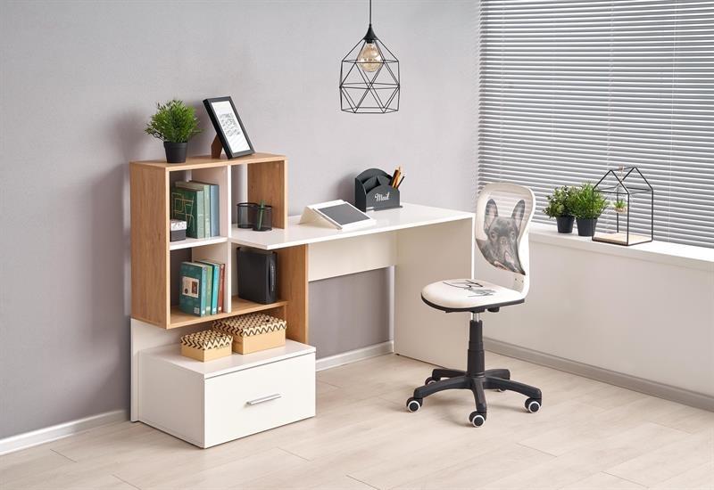 dub zlatý + biela - PC stolík GROSSO