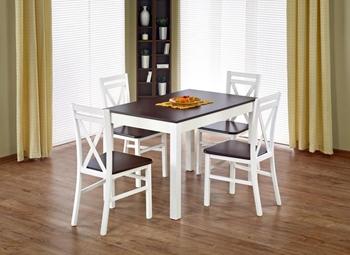 stôl biela + orech / stoličky biela + sedák orech