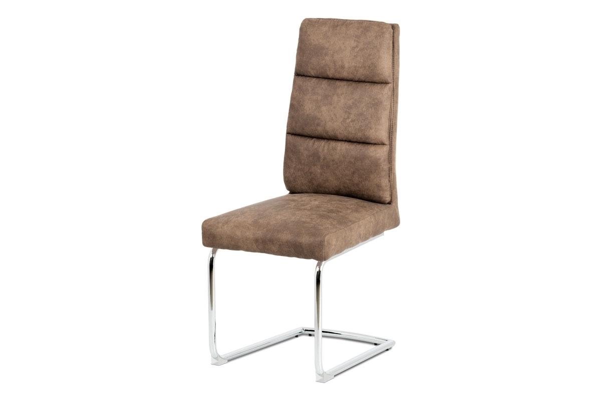 chróm + hnedá látka - Jedálenská stolička DCH-188 GREY / BR