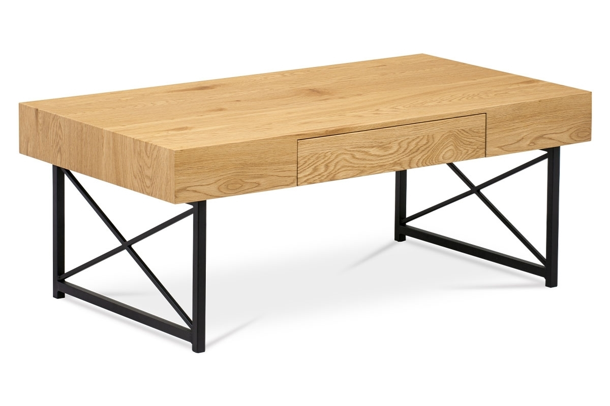 čierny lak + divoký dub - Konferenčný stolík AHG-384 OAK