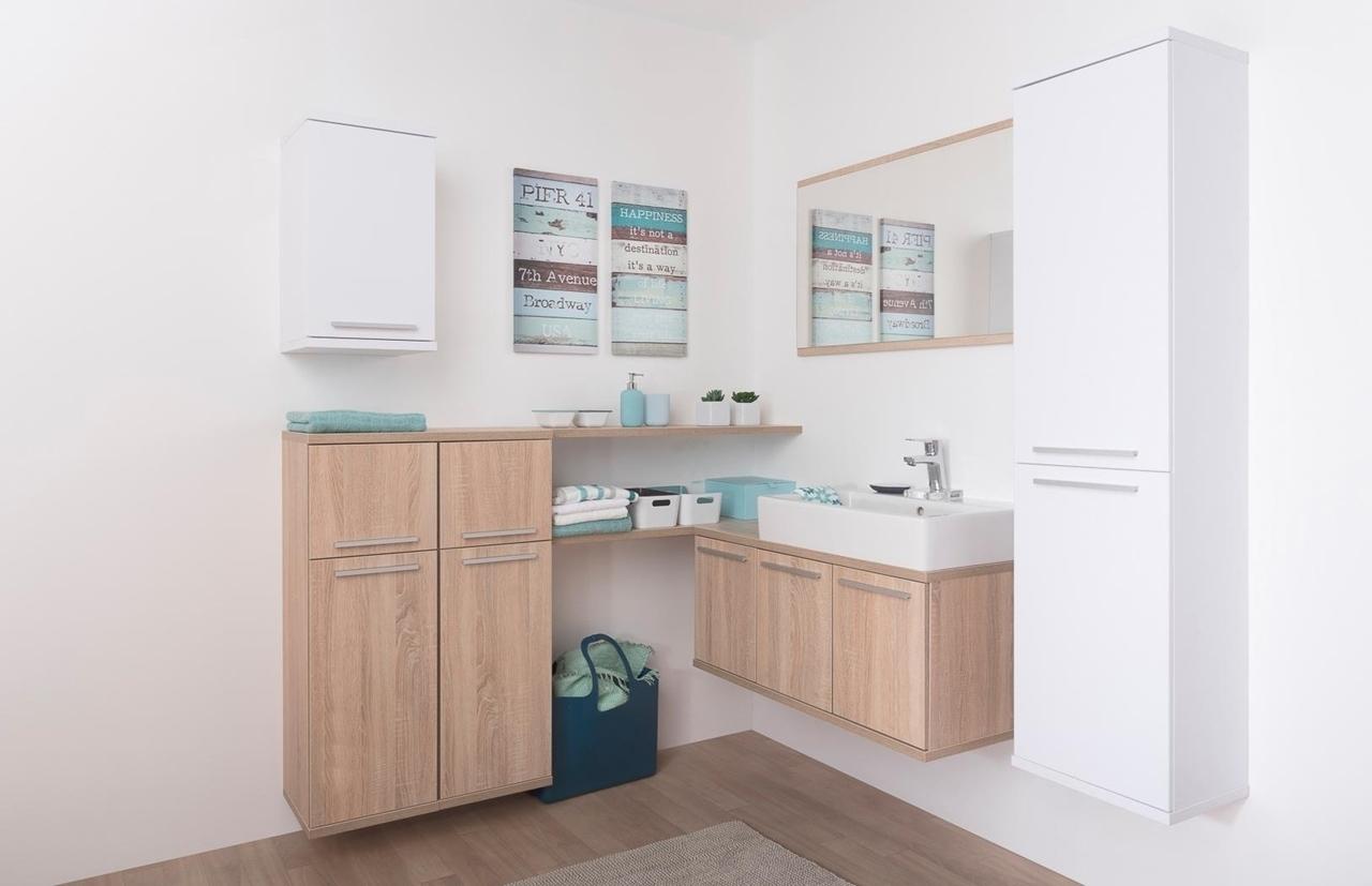 dub bardolino + biela - Kúpeľňová zostava REA REST IV