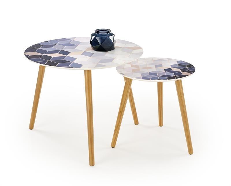 bambus + vzor - Príručné stolíky TEQUILA