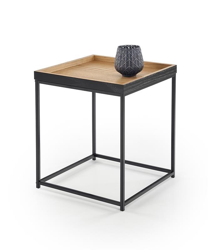 dub prírodný + čierny kov  - Príručný stolík YAVA