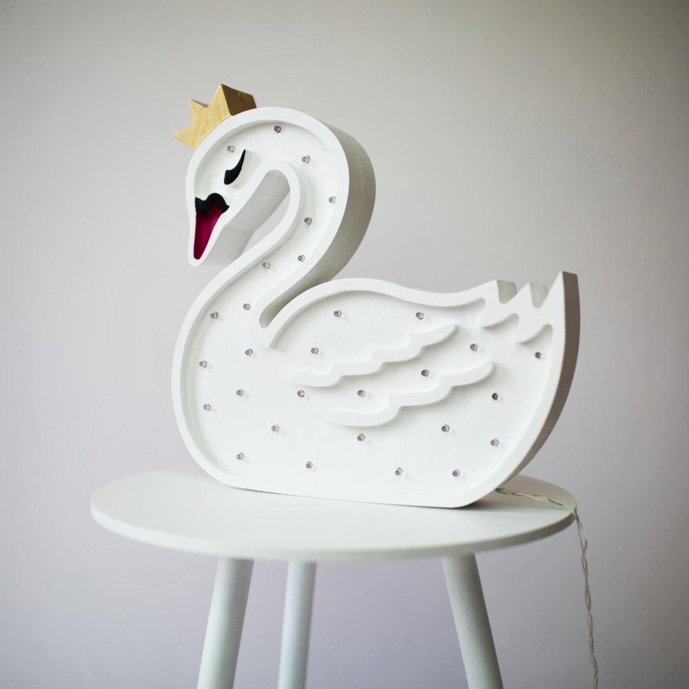 labuť pri vypnutom svetle - Detská dekoračná lampa Labuť